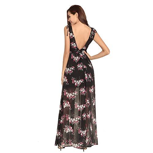 V Boho Wrap Kleid Chiffon Ausschnitt Multicolorfloralblack1 Langes Tiefem Ärmelloses L Floral Frauen Backless 8EaSxdOqEw