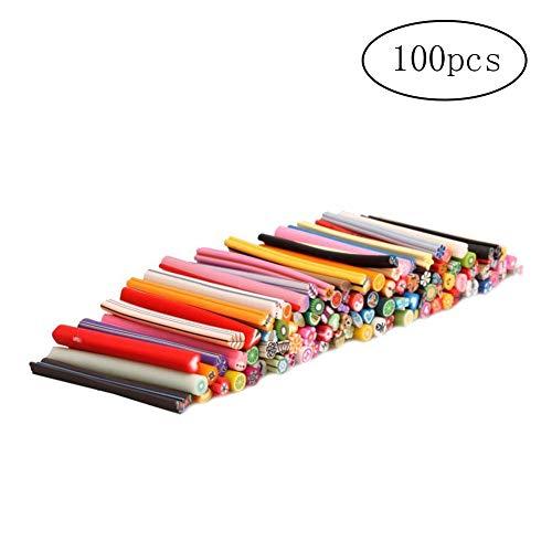 Yigo 100Pcs 3D Nail Sticks Cute Fruit Fimo Canes Rods Polymer Clay Stickers Nail Art Decoration Tools Manicure Decoration Random Style