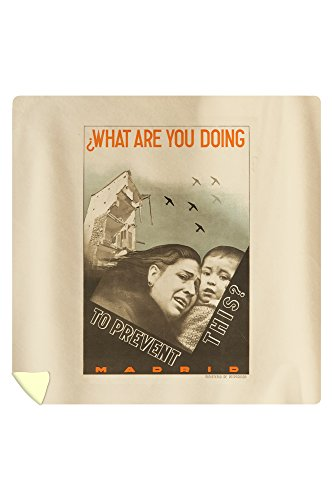 What Are You Doing to Prevent This? Vintage Poster (artist: Augusto) Spain c. 1937 (88x88 Queen Microfiber Duvet Cover) by Lantern Press