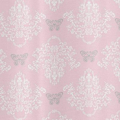 Sweet Jojo Designs Pink, Gray and White Shabby Chic Alexa Damask Butterfly Girls Kids Bathroom Fabric Bath Shower Curtain