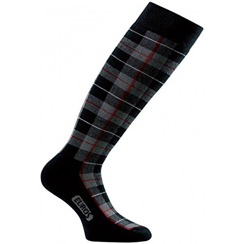Eurosocks Women's Snow Chill Skiing Socks, Tartan Black, Small