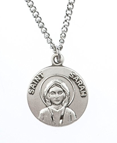 Patron and Protector Medals Pewter Saint St Sarah Dime Size Medal Pendant, 3/4 Inch