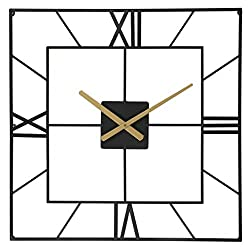 Large Wall Clocks - Big Oversized Square Silent Battery Operated Metal Clock for Home Living Room Kitchen, 25 inches