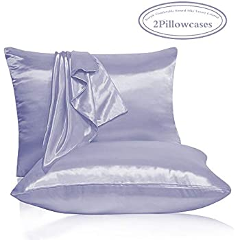 Amazon Com Leccod 2 Pack Shinny Silk Pillowcase With