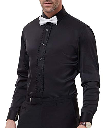Men's Slim Fit Silk Like Satin Luxury Dress Shirt, Black ()