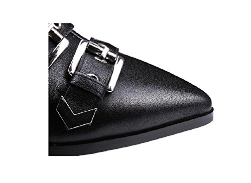 Belt Buckle British Fashion Women's Ankle Boots Pointed Quality Shoes style Boots 39 Fringed Short Punk Leather qwBH8CEzg