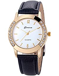 Womens Quartz Watch,Geneva Unique Analog Fashion Clearance Lady Watches Female watches on Sale Casual Wrist Watches for Women,Round Dial Case Comfortable PU Leather Watch-H09 (Black)
