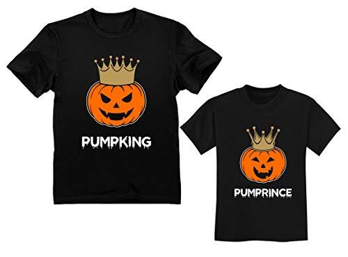 Dad & Son Jack O' Lantern Halloween PumpKing PumpPrince Matching Set Shirts King Black Small/Prince Black 4T ()
