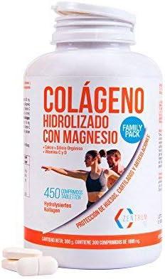Colageno con Magnesio, Colageno Hidrolizado, Vitamina C y D 450C Pack Familiar