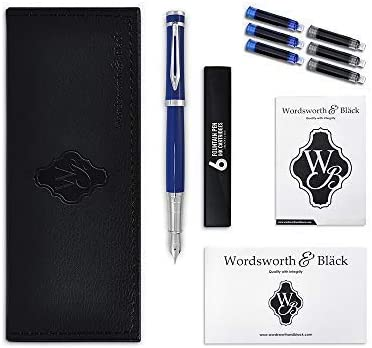 Writing Pen Silver /& Gold Plated Luxury Fountain Pen by Wordsworth /& Black with Gift Pouch Calligraphy Pen Executive Fountain Pens Set Deluxe Vintage Pen |