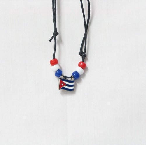 Cuba Country Flag Small Metal Necklace Choker.. New