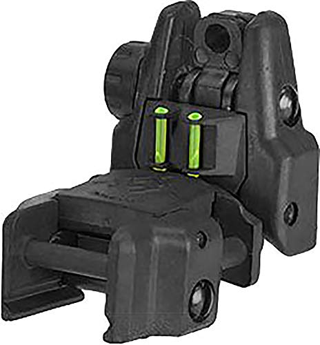 Evike Dual-Profile Rhino Fiber Optic Flip-up Rifle/SMG Sight for Airsoft - Rear Sight (Color: Black) by Evike
