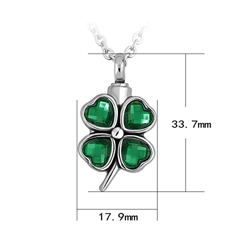 SexyMandala Green/Blue Crystal Lucky Four Leaf Clover Urn Necklace for Ashes Stainless Steel Memorial Keepsake Cremation Jewelry Urn Pendant