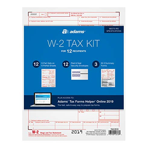 Adams W-2 Tax Forms for 2018 - 6-part Inkjet/Laser sets for 12, three W-3 transmittal forms, 12 envelopes and access to Adams TFH Online (TXA12618) (6 Part W2 Forms)