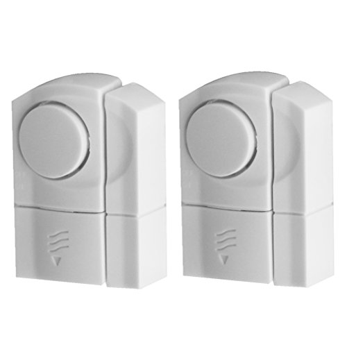 (Evelots DIY Wireless Door & Window Security Alarms, Entrance Alerts, White- S/2)
