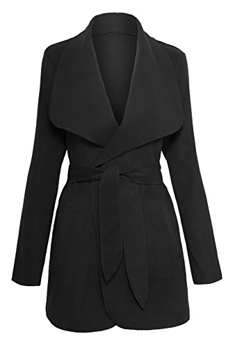 Lightweight Trench Coat Belted - Women's Drape Open Front Waterfall Belted Wrap Coat