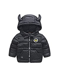 2017new brand girls boys baby autumn winter small horn hooded warm cotton down jacket Children Clothing