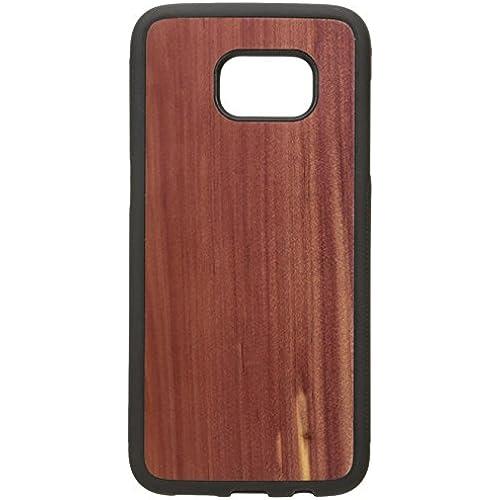 Carved Black Bumper Traveler Wood Case for Samsung Galaxy S7 Edge - Cedar Sales
