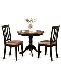 east west furniture anti3 blk c 3 piece kitchen table set black. Interior Design Ideas. Home Design Ideas