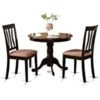 East West Furniture ANTI3-BLK-C 3-Piece Kitchen Table Set, Black/Cherry Finish