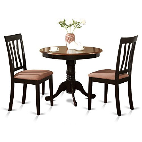 - East West Furniture ANTI3-BLK-C 3-Piece Kitchen Table Set, Black/Cherry Finish