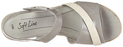 Softline 28363, Sandalias con Cuña para Mujer Gris (Lt. Grey Comb 211)