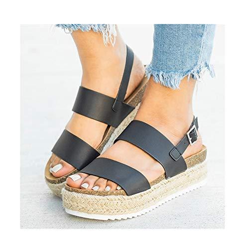 cqkj Women Sandals Platform Sandals with Wedges Shoes(Black,5)