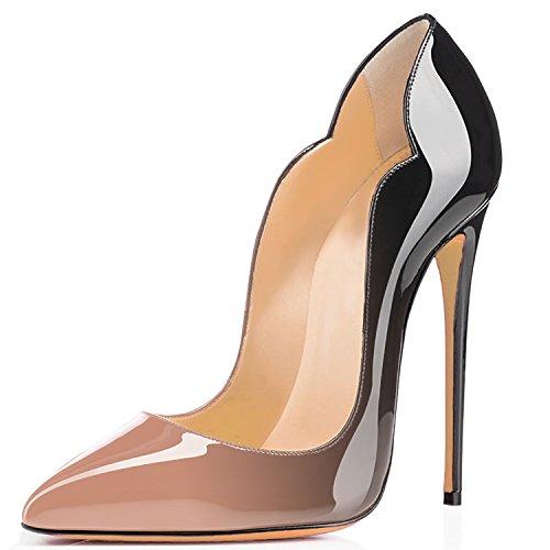 beige noir Talon Grande Laçage Chaussures Femmes uBeauty Rouge Stiletto Taille Escarpins Aiguille Soles Tg17wOPq