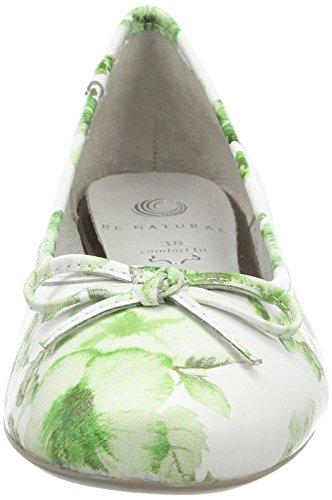 Be Natural Damen 22141 Geschlossene Ballerinas grün (green flower)