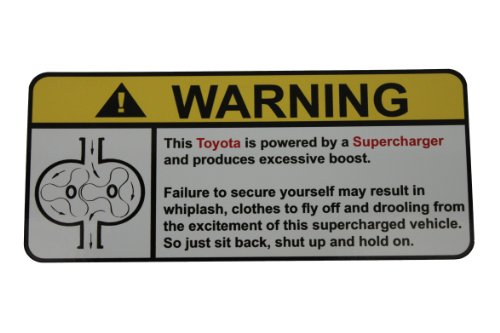 Toyota Warning Supercharger, Warning decal, sticker - Mr2 Supercharger