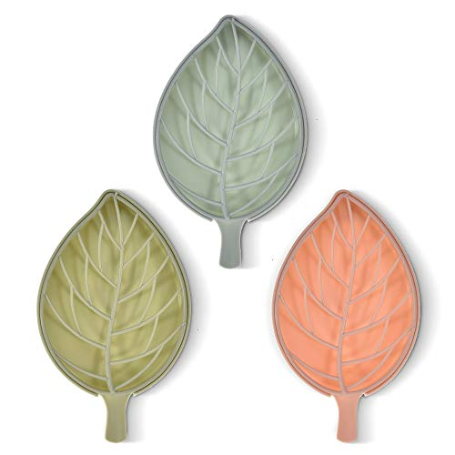 Feeko Soap Dish, Pack of 3 Shower Soap Holder Dishes Leaf Shaped Soap Box Saver Storage Organizer for Bathroom Kitchen Easy to Cleaning Assorted 3 Colors
