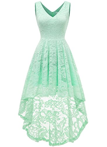 MUADRESS 6666 Women's Sleeveless Hi-Lo Lace Formal Dress Cocktail Party Dress V Neck Mint Medium