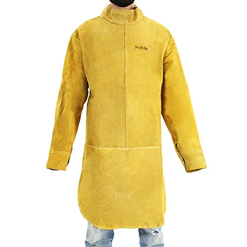 Yellow One Size Cowhide Leather Welding Apron Fire Resistant Welding Suit Safety Apparel