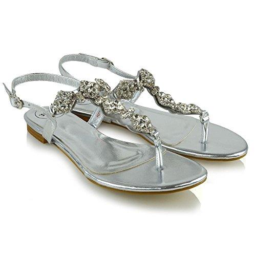 ESSEX GLAM Mujer Slingback Toe Post Diamante Metálico Fiesta Sandalia Plata Metálico