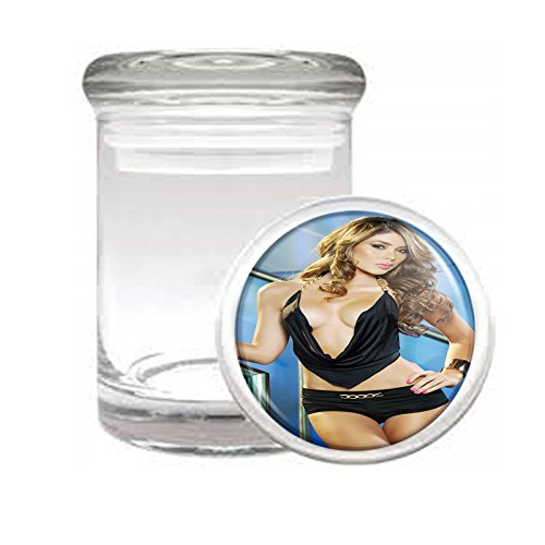 Medical Glass Stash Jar Thai Thailand Pin Up Girls Model S10 Air Tight Lid 3'' x 2'' Small Storage Herbs & Spices by JS & Caren