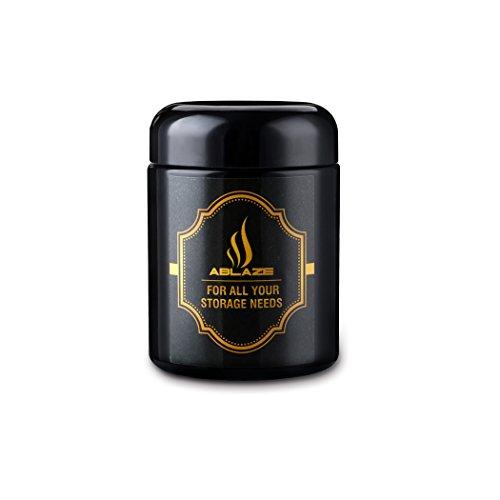 ABLAZE Jars 250ml Black UV Glass Jar - Smell-Proof Ultraviolet Storage Stash Jar Container Refillable Tall Wide-Mouth