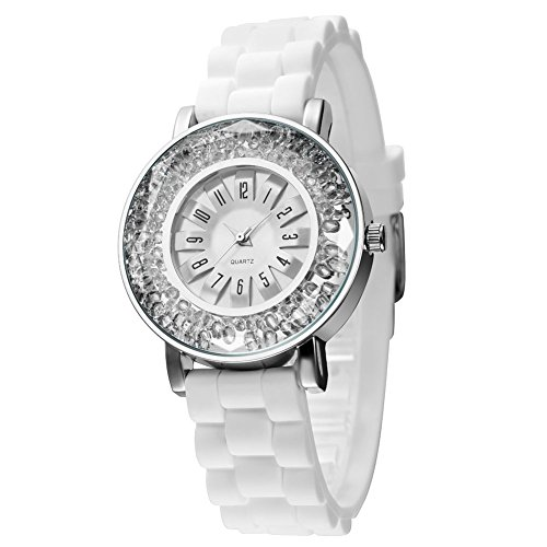 Women's Quartz Rhinestone Silver Watch with White Rubber Watch Band ,Casual Sports Dress Analog Wrist Watches for Ladies