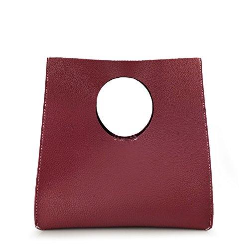 Burgundy Clutch - Hoxis Vintage Minimalist Style Soft Pu Leather Handbag Clutch Small Tote (Burgundy)