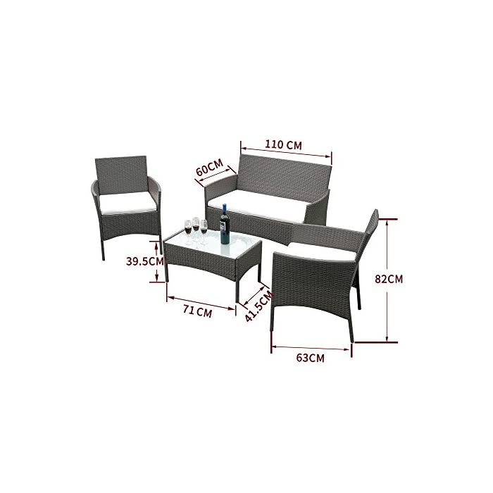 41Mkq0wUz6L 【 Utilidad 】 Tejida mimbre y estructura de acero galvanizado resistente a la intemperie y al desvanecimiento de rayos UV para todo clima como sol, lluvia, nieve, heladas, totalmente resistente al agua. 【 Tamaño 】 Asiento Doble: 110*63*83cm / Silla: 60*63*82cm / Mesa: 71*41*39cm 【 Diseño 】 1 mesa central con tabla de vidrio + 2 sillones corto + 1 sillón largo (incluyen los cojines de asiento)
