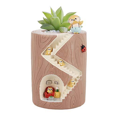 Segreto Creative Plants Pots Brush Pots for Succulent Plants Decorated Desk, Garden, Living Room with Sweet Owl -