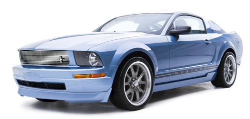 3dCarbon 691276 05-09 Ford Mustang V6 4-Piece Ground Effects Kit w/ Dual Exhaust Rear Valance (4 Piece Ground Effects)