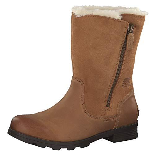 SOREL Womens Emelie Foldover Fleece Winter Snow Waterproof Mid Calf Boot - Camel Brown - 9