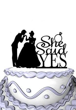 Meijiafei Custom Script She Said Yes Engagement Wedding Ring Silhouette Cake Topper