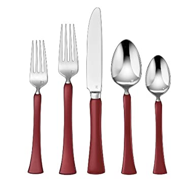 Cuisinart CFE-01-Y20R 20-Piece Flatware Set, Yvon, Red
