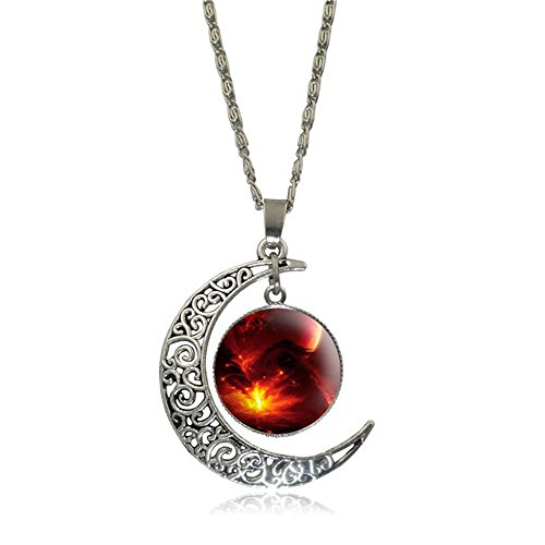 Linsh Dome Moon Time Gems Pendant Necklaces Hollow Out Carved Moon Stars Pendant(Style 2)