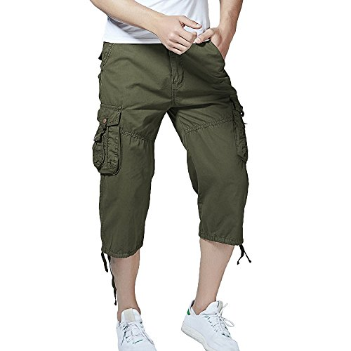 Hycsen Men's Cotton Twill Relaxed Fit Cargo Short-Army green-34 - Army Twill