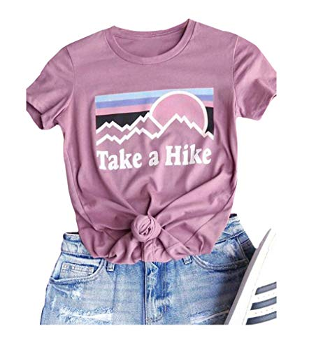 HDLTE Women Casual Tee Take A Hike Letters Printed Round Neck Short Sleeve T-Shirt (M, Pink)