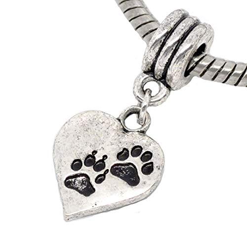 (Dog Paw Print Heart Love Cat Pet Footprint Dangle Charm for European Bracelets Crafting Key Chain Bracelet Necklace Jewelry Accessories Pendants)