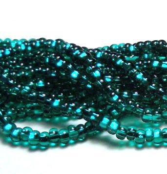 Seed Loose Bead (Emerald Silver Lined Czech 6/0 Seed Bead on Loose Strung 6 String Hank Approx 900 Beads)