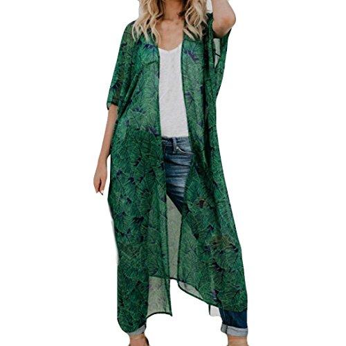 Aliciga 開き襟 シフォン カーディガン 5分袖 レディース 葉の柄 プリント 和服 涼しい 透け シャツ 薄手 ゆったり 日焼け止 UVカット ロング ビーチコート カジュアル ゆかた 可愛い ファッション 春 夏